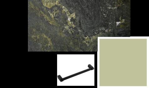 Naturstein Pannonia Grün und Exteriorplatte Pale Olive